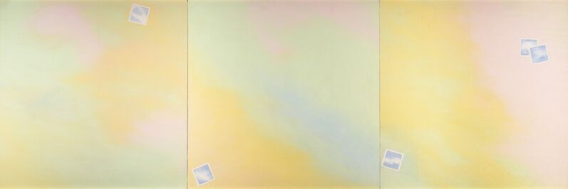 Joe Goode, 'Cloud-Photograph Triptych', 1969, Oil and pencil on canvas, Barbara Mathes Gallery