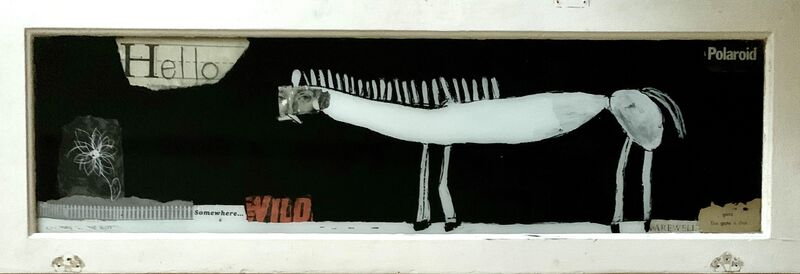 Casebeer, 'P.S. The Gate is Shut', 2020, Mixed Media, Reverse glass painting on vintage window, McVarish Gallery