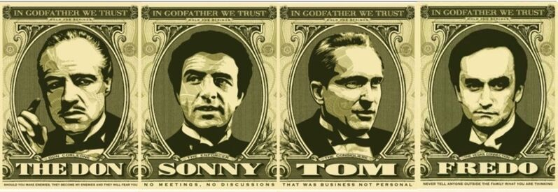 Shepard Fairey, 'In godfather we trust ( set of 4)', 2006, Print, Screenprint on paper, RestelliArtCo.
