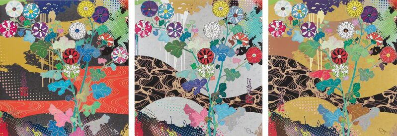 Takashi Murakami, 'Korin: Dark Matter; Korin: Pure White; and Korin: The Time of Celebration', 2015, Print, Three offset lithographs in colors, on smooth wove paper, the full sheets, Phillips