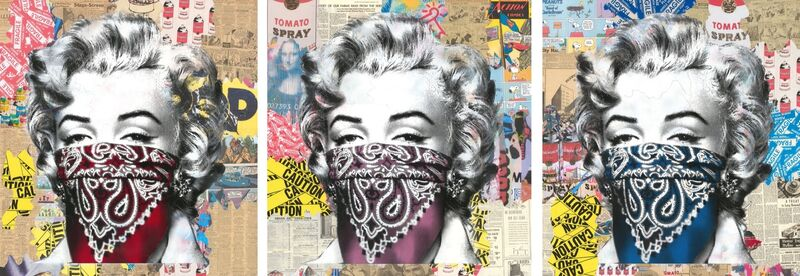 Mr. Brainwash, 'Stay Safe (Unique Set)', 2020, Drawing, Collage or other Work on Paper, Silkscreen and mixed media triptych on paper, Taglialatella Galleries