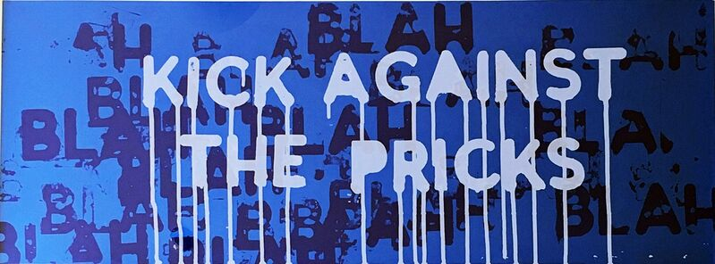 Mel Bochner, 'Kick Against the Pricks (Blah..Blah...Blah...)', 2018, Print, Two color silkscreen on boutique silk fair paper with blue-colored back, 350 gsm paper, Alpha 137 Gallery