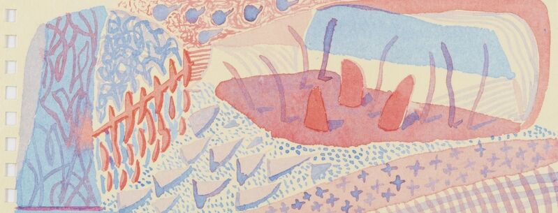 David Hockney, 'Composition Red & Blue (Momart)', 2005, Print, Lithograph printed in colours, Forum Auctions