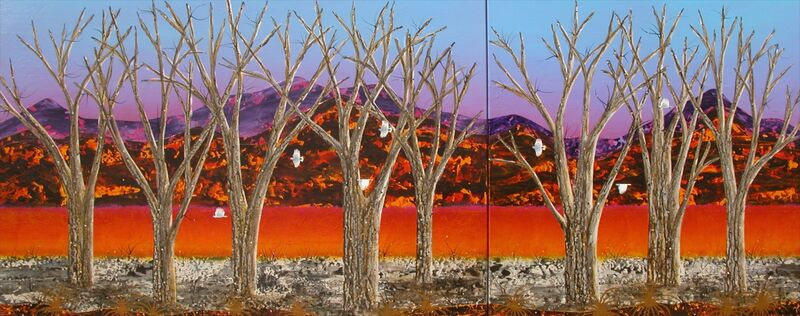 Peter Coad, 'Sentinels - Brachina Creek (Diptych)', 2013-2014, Painting, Mixed Media, Wentworth Galleries