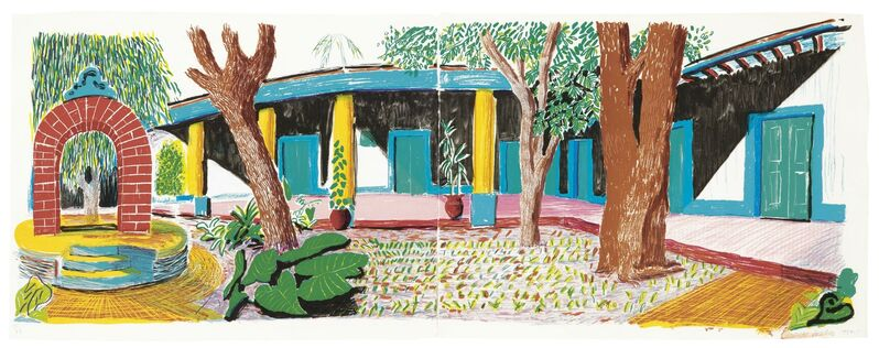 David Hockney, 'Hotel Acatlan: Second Day, from Moving Focus', 1984-1985, Print, Lithograph in colors, on two sheets of TGL handmade paper, Upsilon Gallery