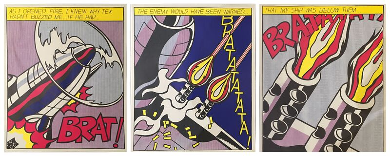 Roy Lichtenstein, 'As I Opened Fire... (Triptych)', 1997 , Print, Off-set lithograph in colors, Off The Wall Gallery