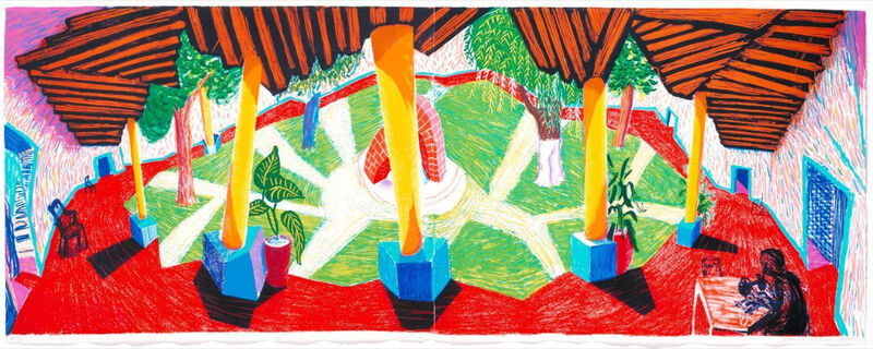 David Hockney, 'Hotel Acatlán: Two Weeks Later, from: The Moving Focus Series', 1985, Print, Lithograph in colors on two sheets of HMP handmade wove paper, Upsilon Gallery