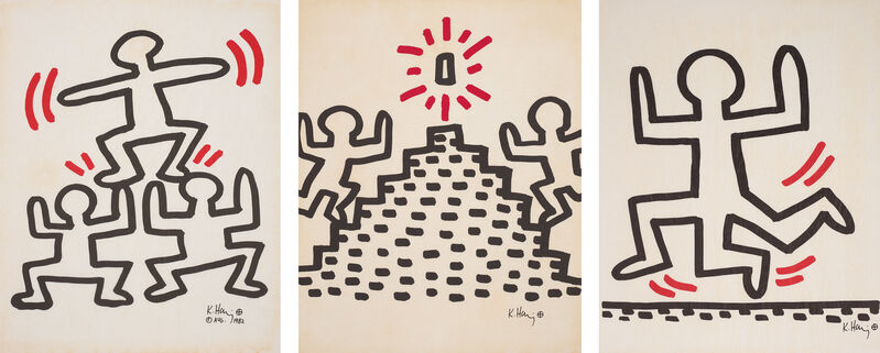 Keith Haring, 'Bayer Suite', 1982, Print, The complete set of six offset lithographs in colours, on light transparent paper, the full sheets., Phillips