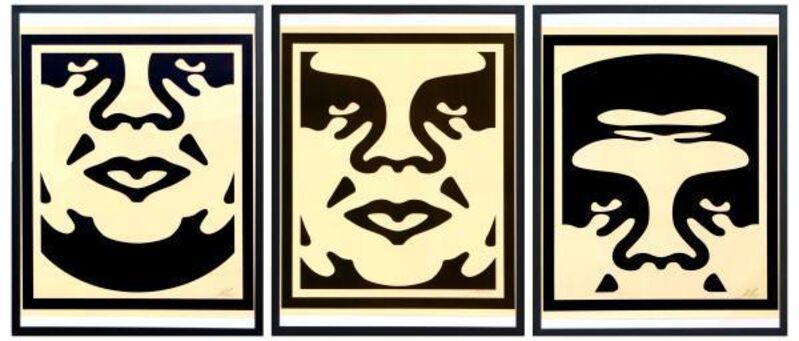 Shepard Fairey, 'Obey giant faces', 2017, Print, Three black silkscreens (Triptych) on paper. Signed and dated, NextStreet Gallery