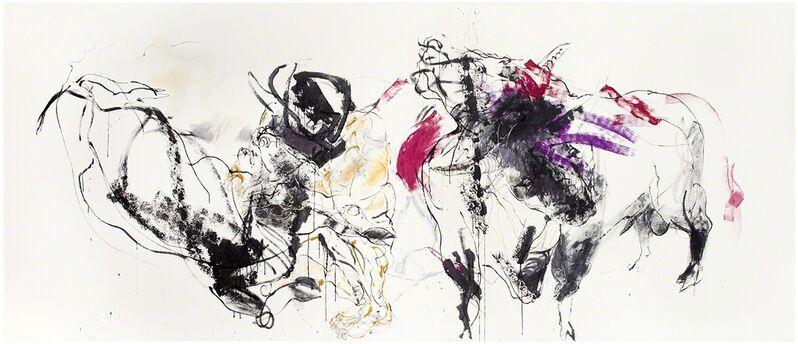 Marjatta Tapiola, 'Minotauros ja kaksipäinen härkä', 2017, Painting, Ink and tempera on canvas, Galerie Forsblom
