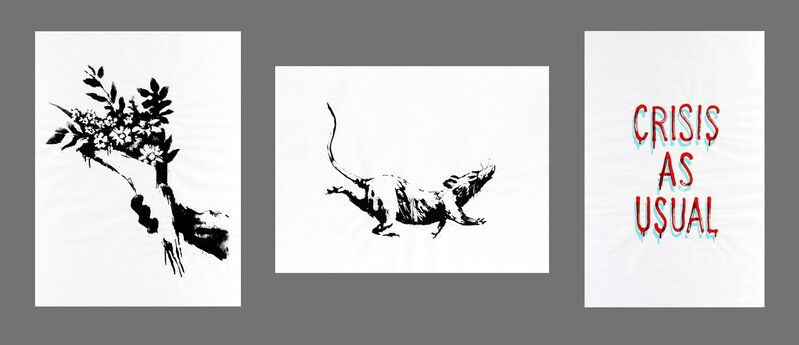 Banksy, 'GDP Flower Thrower, GDP Rat & GDP Crisis As Usual', 2019, Ephemera or Merchandise, A complete set of three screen prints on 50gsm paper, Tate Ward Auctions