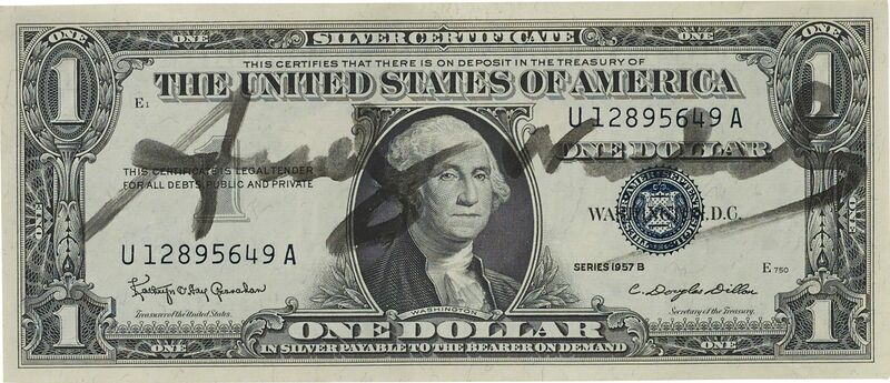 Andy Warhol, 'Untitled', ca. 1980s., Mixed Media, Black felt pen on United States of America currency, Phillips