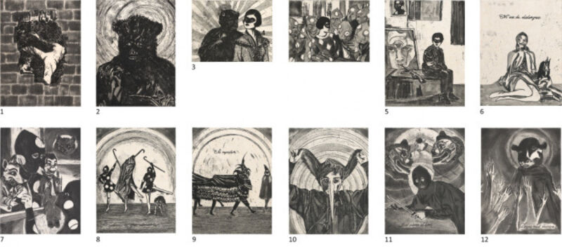 Marcel Dzama, 'The Fallen Fables', 2015, Print, Portfolio of twelve soft ground etchings with spit bite aquatint on gampi paper chine collé, Crown Point Press