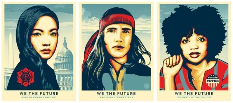 Shepard Fairey, 'We The Future Set', 2018, Print, Screen Prints On Thick Speckle Tone Creme Paper, New Union Gallery