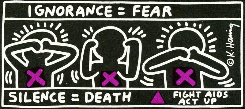 Keith Haring, 'Vintage Keith Haring announcement (Keith Haring Silence Equals Death) ', 1991, Ephemera or Merchandise, Offset printed on card stock, Lot 180