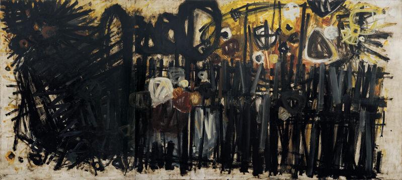 Stanislaus Rapotec, 'Meditating on Good Friday', 1961, Painting, Oil on board, Charles Nodrum Gallery