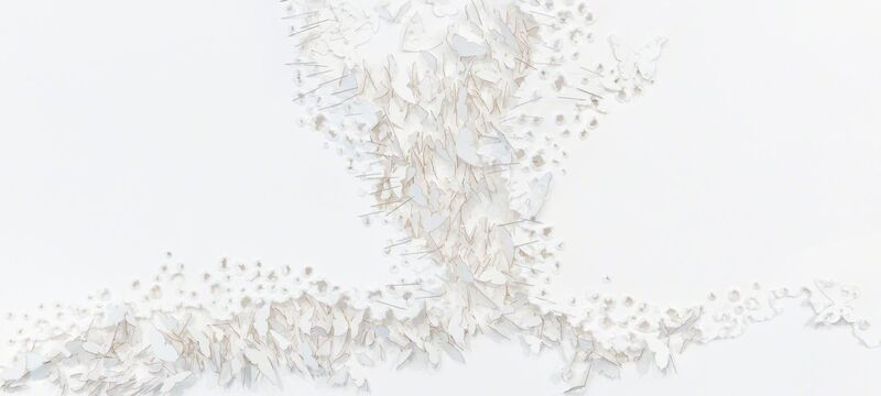 Safaa Erruas, 'Broken Wings', 2017, Drawing, Collage or other Work on Paper, Towed paper and needles on cotton paper, L'Atelier 21