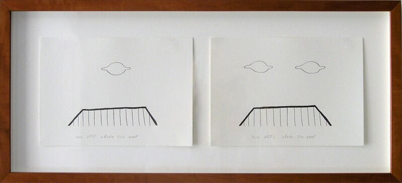 Vadim Fishkin, 'Geo-graphic (one UFO above the roof,  two UFOs above the roof)', 1989-2004, Drawing, Collage or other Work on Paper, Ink on paper, Galerija Gregor Podnar