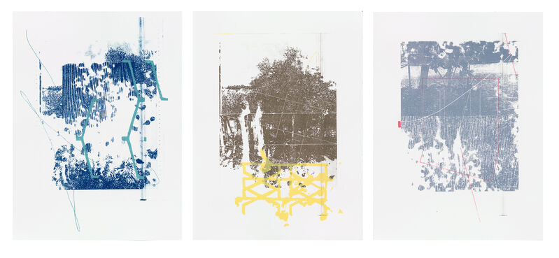 Adler Guerrier, 'Triptych: Here Marks, Envelops and Preserves', 2015, Print, Polyester plate lithography with silkscreen on pape, 193 Gallery