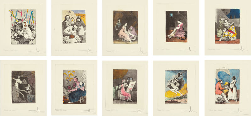 Salvador Dalí, 'Les Caprices de Goya de Dali (Dali's 'Caprichos' by Goya): 10 plates', 1977, Print, Ten heliogravures with extensive hand-coloring, made from Goya's print series (circa 1799 edition) reworked and altered with drypoint and unique coloring, before Dali's titles and plate numbers were engraved in the plates, on Rives BFK paper, with full margins., Phillips