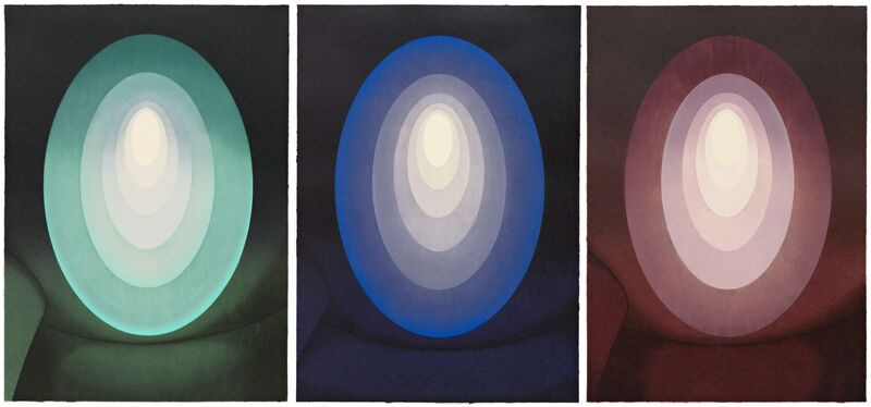 James Turrell, 'Suite from Aten Reign', 2014, Print, Set of three Ukiyo-e Japanese style woodcuts with relief printing, Pace Prints