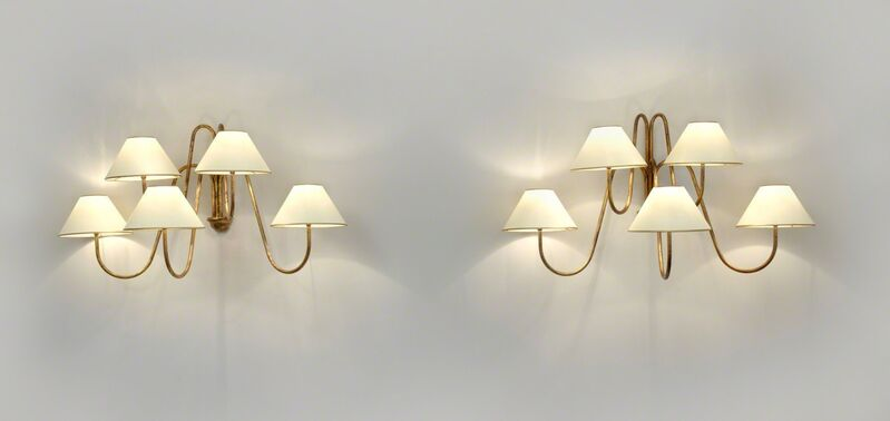 "Jean Royère, 'Pair of ""Bouquet"" five arm wall lights', ca. 1950, Design/Decorative Art, Gilded metal, Galerie Jacques Lacoste"