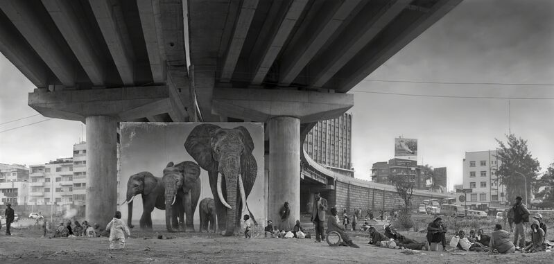 Nick Brandt, 'Underpass with Elephants (Lean Back, Your Life is On Track)', 2015, Photography, Archival pigment print, Edwynn Houk Gallery