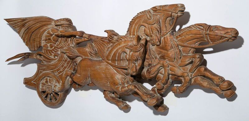 'Art Deco Style Roman Chariot Wall Relief', 1940s, Design/Decorative Art, Carved wood with white painted highlights., Doyle