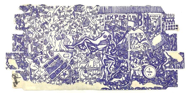 RODRIGO MABUNDA, 'Exposição 1834', 2018, Drawing, Collage or other Work on Paper, Ballpoint Pen on recycled cardboard, Arte de Gema