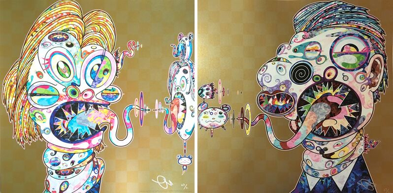 Takashi Murakami, 'Homage to Francis Bacon (Study of Isabel Rawsthorne and George Dyer)', 2016, Print, Offset lithorgaph and cold stamp on paper, Hang-Up Gallery
