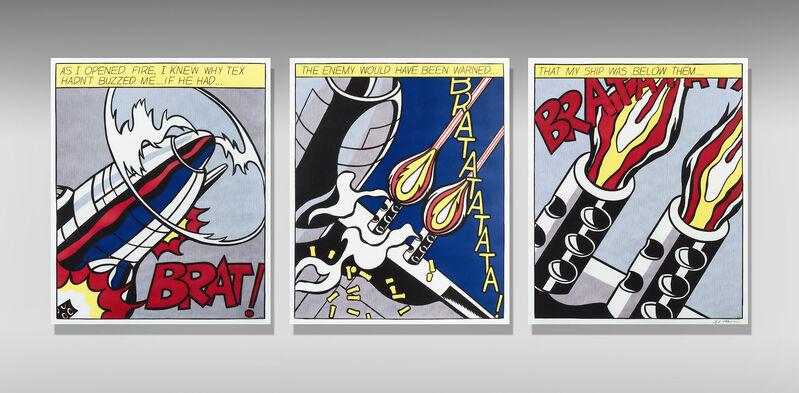 Roy Lichtenstein, 'As I Opened Fire (Triptych)', 1966, Print, Three offset lithographs in colours on wove paper, Tate Ward Auctions