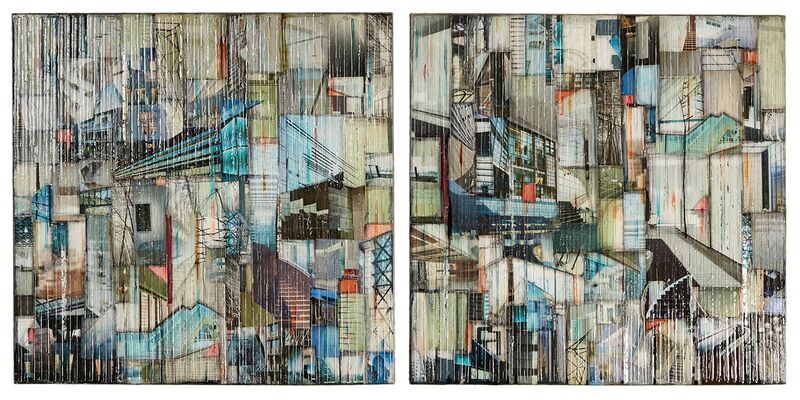Madonna Phillips, 'Water Falling Diptych', 2018, Painting, Mixed Media Glass, Paint on Wood, Ai Bo Gallery