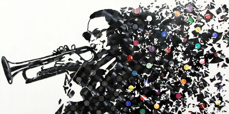 Mr. Brainwash, 'Miles Davies', 2018, Mixed Media, Broken Vinyl Records on Canvas, Cha Cha Gallery