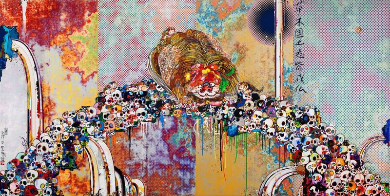 Takashi Murakami, 'Of Chinese Lions, Peonies, Skull and Fountains', 2012, Print, Offset color lithograph, Dope! Gallery