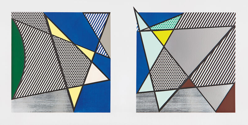 """Roy Lichtenstein, 'Imperfect Diptych 46 1/4"""" x 91 3/8"""", from Imperfect Series', 1988, Print, Woodcut and screenprint in colors with Mylar collage, on 4-ply Archivart rag board, with full margins., Phillips"""