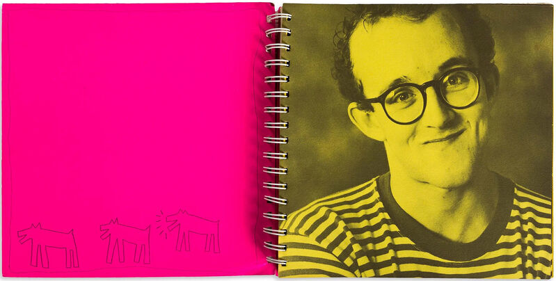 Keith Haring, 'Drawing of Three Dogs, One Barking', 1982, Books and Portfolios, Ballpoint pen and ink on the inside cover of Keith Haring, Robert Fontaine Gallery