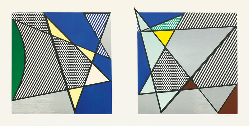 """Roy Lichtenstein, 'Imperfect Diptych 46 1/4"""" x 91 3/8"""", from Imperfect Series', 1988, Print, Woodcut and screenprint in colors with mylar collage, on 4-ply Archivart rag board, with margins., Phillips"""