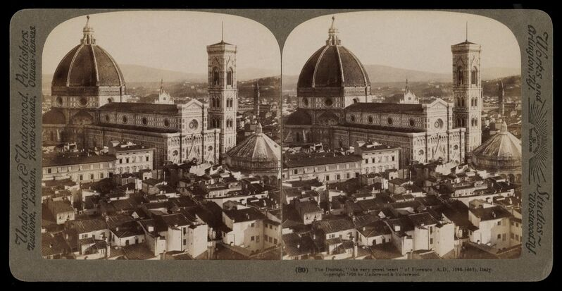 Bert Underwood, 'The Duomo the very great heart of Florence', 1900, Stereograph : gelatin silver, Getty Research Institute