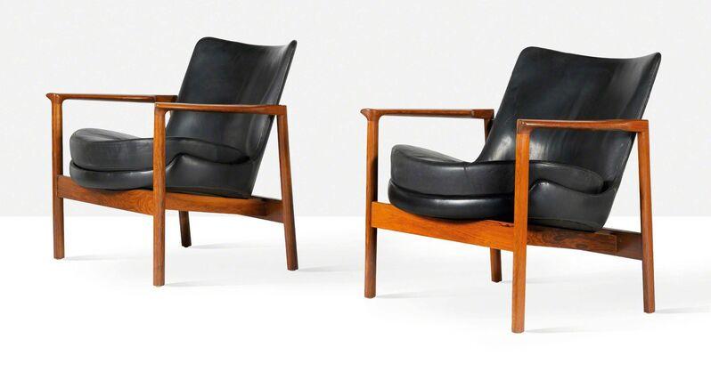 Ib Kofod-Larsen, 'Pair of lounge chairs', circa 1970, Design/Decorative Art, Leather, mahogany, Aguttes