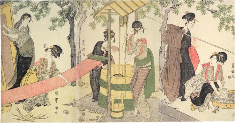 Utagawa Toyokuni I, 'Women Washing and Stretching Cloth', ca. 1795, Print, Woodblock print, Scholten Japanese Art
