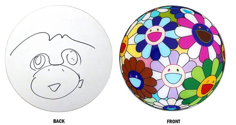 Takashi Murakami, 'Flowerball Disc with original drawing', 2007, Mixed Media, Fiberglass offset lithograph and marker drawing, EHC Fine Art