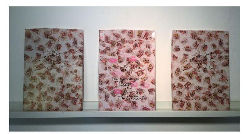 "Dan Colen, '3-Piece Set- ""Rock ! Paper ! Scissors ! Shit !"", Boxed Puzzles Covers SIGNED/ INSCRIBED & KISSES, Each UNIQUE, Provenance Gagosian ', 2007, Print, Cardboard Box/ Puzzle, Ink and Lipstick, VINCE fine arts/ephemera"