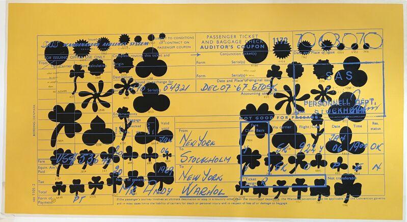 Andy Warhol, 'SAS Passenger Ticket F&S II.20', 1968, Print, Screenprint on paper, Fine Art Mia