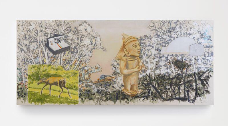 William Leavitt, 'Deer, Camera, Mayan, Sand Dome', 2017, Painting, Acrylic and vinyl on canvas, galerie frank elbaz