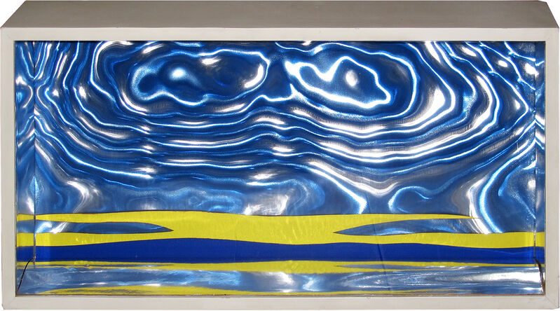 Roy Lichtenstein, 'Seascape II', 1965, Print, Screenprint and die-cut collage on blu rowlux, reflective foil, mounted inside white painted wooden box with plexi front, Carolina Nitsch Contemporary Art