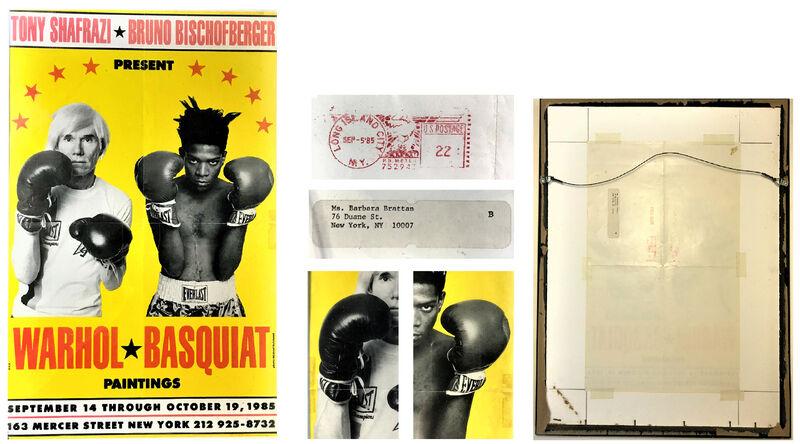 "Jean-Michel Basquiat, 'andy WARHOL &  jean-michel BASQUIAT  ""Warhol Basquiat Paintings"", Exhibition Invitation/ Mailer/ Poster, Tony Shafrazi Gallery NYC, POST MARKED', 1985, Ephemera or Merchandise, Color Offset Lithograph, VINCE fine arts/ephemera"