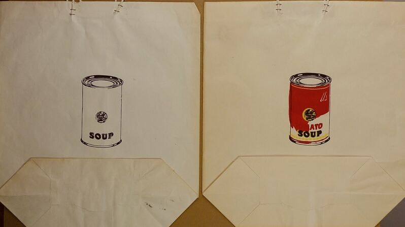 Andy Warhol, ' 2 x Campbell´s Soup Can Bags', 1964, Print, Screenprint on shopping bags, Bengtsson Fine Art