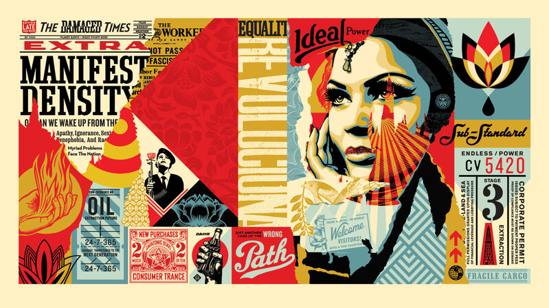 Shepard Fairey, 'Damaged Wrong Path Mural (Large Format)', 2018, Print, 5 color screen print on cream 100% cotton custom archival paper by Legion Paper with hand-deckled edges. Signed by Shepard Fairey. Numbered edition of 75., Pop Fine Art