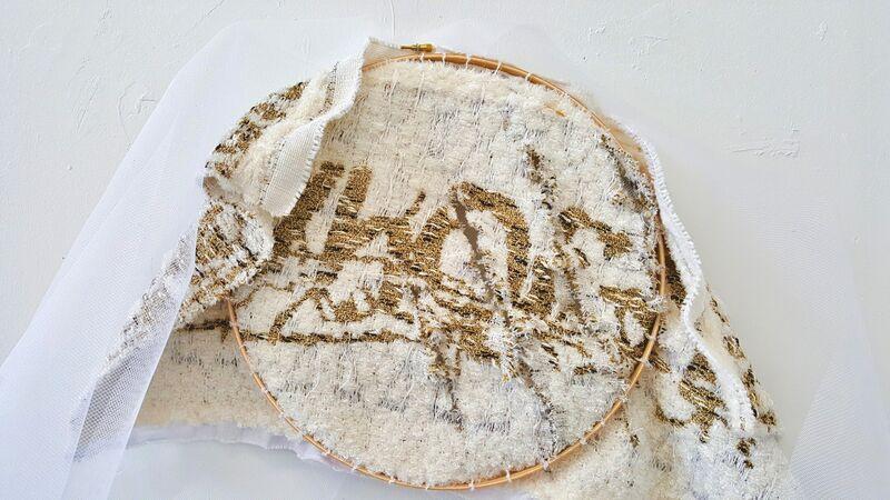 Kira Dominguez Hultgren, 'CAPTCHA: Maiden Name VhQf3Y', 2019, Textile Arts, Hoop, thread/yarn (metallic, cotton, acrylic, wool), needle, net, Eleanor Harwood Gallery
