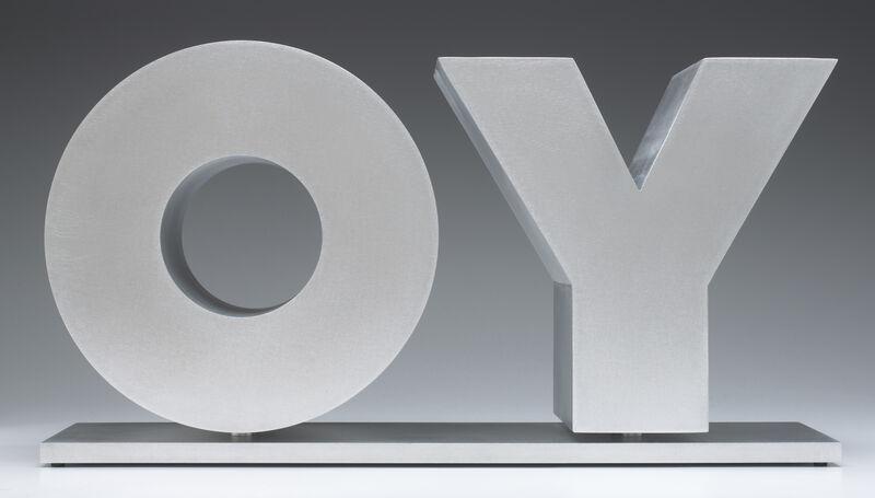 Deborah Kass, 'OY/YO (Unpainted / Silver)', 2013, Sculpture, Brushed aluminum on brushed aluminum base, Gavlak